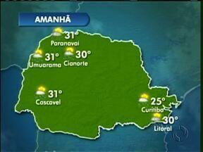 Previsão de chuva para a quinta-feira - Deve chover em quase toda a região noroeste nesta quinta-feira (10).