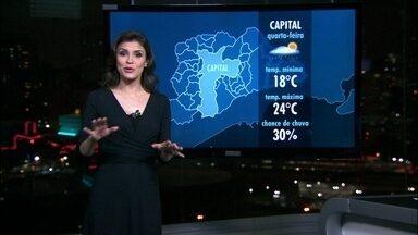 Pode chover forte durante a noite em São Paulo - Os meteorologistas não descartam a possibilidade de chuva forte na noite desta terça-feira (15), pois nuvens carregadas continuam sobre São Paulo. O dia foi frio, mas os termômetros devem subir um pouco na quarta-feira (16).