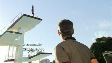 Otaviano Costa abre o programa mostrando salto ornamental - Danielle Robles comenta experiência de saltar a 10 metros de altura