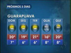 As temperaturas ficam mais baixas neste domingo na região de Guarapuava - Em União da Vitória, os termômetros registram máxima de 18 graus.