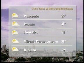 Tempo deve permanecer aberto no Oeste Paulista neste sábado - Meteorologia informa que não deve chover na região de Presidente Prudente.
