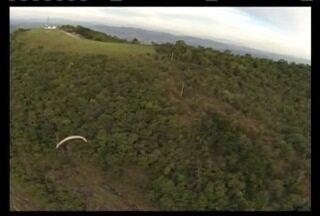 Piloto de paraglaider cai na serra no Piripau, em Cambuquira - Piloto ficou apenas ferido.