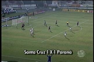 Santa Cruz empata com o Paraná - A partida foi realizada no estádio do Arruda e terminou com o placar de 1 a 1.