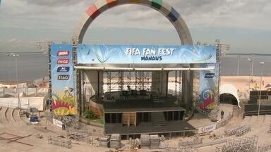 Em Manaus, obras no Fifa Fan Fest seguem aceleradas - Local será palco de shows e transmissão de jogos na capital; milhares de pessoas são esperadas.