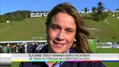 Acompanhe o Diário de Gravação de Fernanda Gentil - Jornalista cobre tudo o que rola na Copa do Mundo e revela paixão por Sandy e Junior