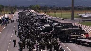 Forças Armadas fazem mais um treinamento para a Copa do Mundo - No estádio Mané Garrincha, está programada a simulação de um ataque terrorista. No último fim de semana, Exército, Marinha e Aeronáutica apresentaram parte da estratégia de segurança para o Mundial.