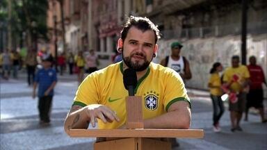 """Torcedores fazem sugestões para Seleção Brasileira no púlpito do Fantástico nas ruas - O ator Thiago Lacerda participa como convidado da reunião de pauta do Fantástico. Em São Paulo, torcedores falaram ao """"púlpito do Fantástico"""" as sugestões para mudanças no time da Seleção Brasileira."""