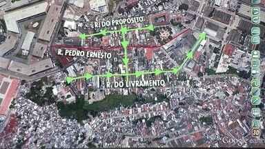 Trânsito no Centro tem alterações - A demolição do último trecho da Perimetral foi adiada para a próxima semana, mas desde sábado (26) já tem alteração no trânsito. Esta segunda-feira (21) é o primeiro dia útil com a Rua Pedro Ernesto interditada.
