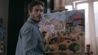 Orville completa a falsificação de um quadro para expor no leilão - Ele disfarça na frente de Juliane. Passista vai ao salão de Xana e elogia o marido