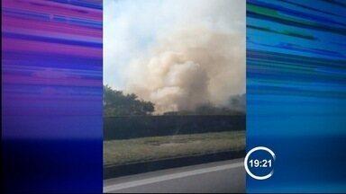 Focos de queimada são registrados na Via Dutra - O tempo ficou seco na região nesta quinta-feira (7). Por causa dessa falta de chuva, o risco de queimadas aumenta.