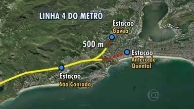 Falta pouco para conclusão das escavações da Linha 4 do Metrô - As escavações da Linha 4 do Metrô, no trecho que vai ligar a Barra da Tijuca à Gávea, estão perto de acabar. O consórcio responsável pela obra informou que, para concluir esta etapa, faltam apenas 500 metros.