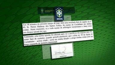 Árbitro faz adendo à súmula, e até corintianos acham que Petros será punido - Jogador do Corinthians pode ser suspenso por 180 dias por agressão a juiz