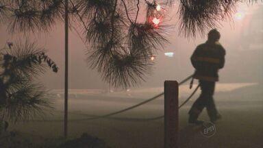 Empresa de materiais recicláveis atingida por incêndio em Vinhedo, SP - O incidente ocorreu neste sábado (23) e, de acordo com testemunhas, o fogo teria começado em uma área de mata próxima ao local. Ninguém se feriu.