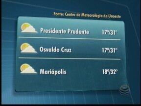 Veja como devem ficar as temperaturas no Oeste Paulista - Confira a previsão de algumas cidades para este sábado (6).