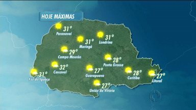 Terça-feira de sol e calor em todo o Paraná - Temperaturas ficam acima dos 25 graus em quase todas as regiões.