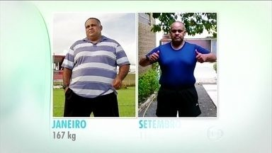 Éder emagrece 50 quilos com bons indicadores de saúde em sete meses de desafio - O ex-jogador de futebol estava pesando 170 kg. Éder tem encontro marcado com a nutricionista duas vezes por semana. No calendário de agosto, ele cometeu deslizes na alimentação. Mas, na atividade física, ele não escorregou.