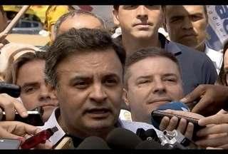 Aécio Neves, candidato à presidência, cumpre agenda de campanha em Belo Horizonte - Candidato do PSDB fez campanha para eleitorado na Praça do Papa.