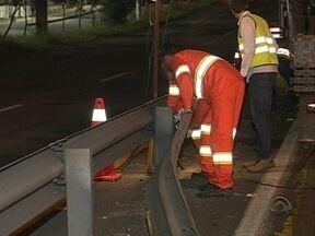 Começam as obras de substituição dos guard rails da SC-401, em Florianópolis - Começam as obras de substituição dos guard rails da SC-401, em Florianópolis