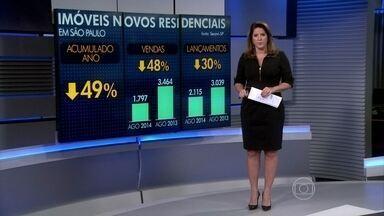 Mercado de imóveis residenciais novos em SP continua em baixa - As empresas do setor reduziram a oferta no mês. Lançaram pouco mais de duas mil unidades na capital paulista, 30% a menos do que em agosto do ano passado. Mas a procura caiu ainda mais: 48%. Cerca de 1,8 mil imóveis foram vendidos.