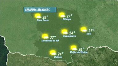 Temperaturas ficam mais altas até o fim de semana na região de Guarapuava - Nesta terça-feira o sol aparece e os termômetros já marcam 24 graus no período da tarde.
