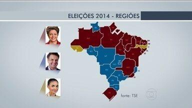 Candidatos à presidência têm desempenhos diferentes nas cinco regiões do país - No Sul, Aécio venceu no Paraná e em SC. E Dilma no RS. No Nordeste, Dilma ficou na frente em oito estados.