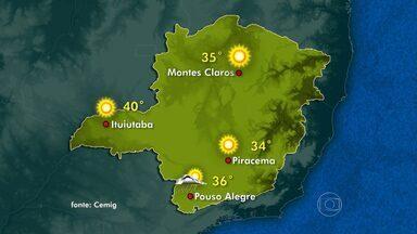 Tarde de tempo quente e seco na maior parte das regiões de Minas Gerais - Previsão de pancadas de chiva somente no fim do dia para o Sul do estado.
