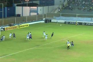 Milton salva o que poderia ser o primeiro gol do Fortaleza aos 26 minutos! - Bola sobra para Adalberto, que manda chute forte. Goleiro do Macaé manda para escanteio.