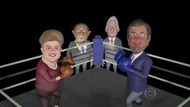 Dilma e Aécio disputam a Luta do Século Eleitoral - Durante a luta, Dilma e Aécio trocam farpas e as provocações chegam até aos irmãos dos candidatos. As ofensas não agradam nem um pouco a Lula e a FHC, os dois treinadores.