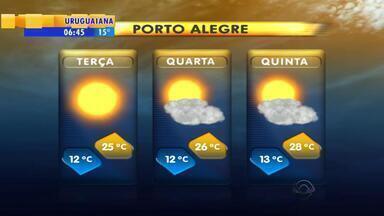 Tempo: terça-feira (21) deve ser de tempo seco e sol em Porto Alegre - Na quarta (22), máxima de 25ºC e na quinta (23), máxima de 28ºC.