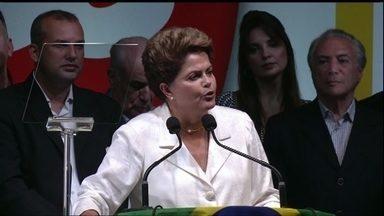 Veja no JH: Dilma Rousseff é reeleita presidente da República no segundo turno - Foi uma vitória apertada com uma diferença de pouco menos de 3,5 milhões de votos. Em seu discurso após a vitória, Dilma Rousseff falou em conciliação e mudanças.