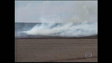 Incêndio atinge fazenda em SP - Um incêndio de grandes proporções demorou oito horas para ser contido numa fazenda em Arandu, São Paulo.