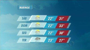 Tem previsão de chuva na região de Maringá até terça-feira - No fim de semana as temperaturas ficam acima dos 30 graus