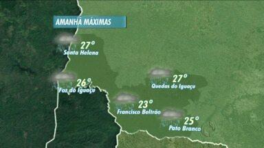 Veja como ficam as temperaturas nas regiões oeste e sudoeste - Amanhã as mínimas começam acima dos vinte graus.