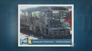 Ônibus pega fogo em Hortolândia, mas ninguém fica ferido - Ônibus pega fogo em Hortolândia, mas ninguém fica ferido. Rua onde ocorreu o acidente ficou sem energia elétrica.