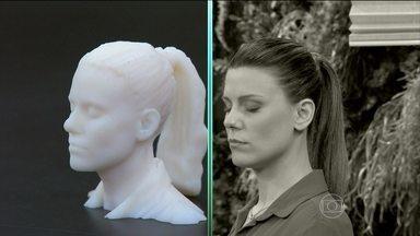 Bem Estar mostra que equipamento 3D imprime com precisão partes do corpo - Daiana Garbin aceitou ser escaneada. Os flashes de luz reproduzem o rosto da repórter em 3D.