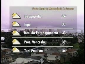 Meteorologia prevê tempo instável para o Oeste Paulista - Veja como devem ficar as temperaturas em algumas cidades.
