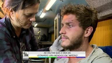 Klebber Toledo comenta fase mendigo de Leonardo - Vídeo Show acompanha caracterização de personagem em Império