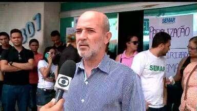 Funcionários terceirizados da Semar realizam paralisação por falta de pagamentos - Funcionários terceirizados da Semar realizam paralisação por falta de pagamentos