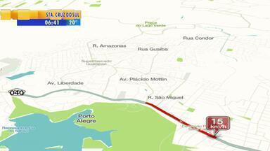Trânsito: mapa da velocidade mostra congestionamento na RS-040 - Avenida Protásio Alves é alternativa na manhã de sexta-feira (14).