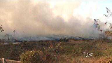 Reserva ambiental do Batalhão do Exército pega fogo em São Luís, MA - Vento, calor e baixa umidade do ar contribuíram para aumento das chamas.Ainda não se sabe o que provocou o incêndio nem o tamanho da área atingida.