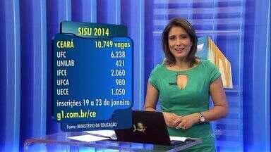 Ceará tem mais de 10 mil vagas no Sisu para candidatos que fizeram Enem - UFC tem o maior número de vagas.