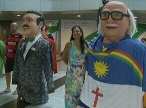 Bonecos gigantes acolhem quem chega a PE pelo Aeroporto Internacional dos Guararapes - Exposição segue até 31 de janeiro no térreo do aeroporto.