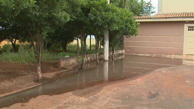 Moradores reclamam de bueiro entupido em bairro de Ribeirão Preto - Segundo eles, problema se agrava durante chuvas porque água invade casas. Vazamento de esgoto gera transtornos no Centro de Ribeirão Preto.