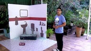 André Marques faz o teste: será que os vidros dos boxes dos banheiros são seguros? - Cissa Guimarães mostra vídeo em câmera lenta que mostra estouro