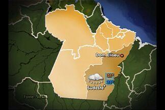 Confira a previsão do tempo para Belém e interior nesta segunda-feira (9) - Na capital, há previsão de chuva forte que pode ser forte com trovoadas. Termômetros marcam máxima de 31 graus e mínima de 23 graus.