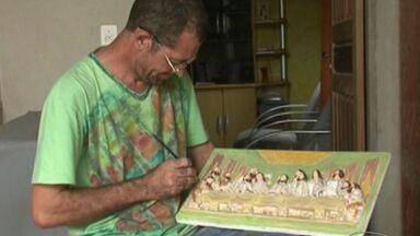 Soldador faz sucesso restaurando imagens de santos no ES - Hélio Júnior começou a investir na prática há quatro anos.Uma das peças restauradas pelo soldador tem mais de 80 anos.