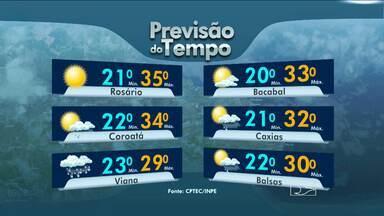 Veja a previsão do tempo para esta sexta-feira (13) - São Luís com o tempo nublado no fim da tarde. Variação entre 20 e 34 graus. Em Mirinzal, na baixada maranhense, mínima é de 21 e máxima pode alcançar os 34 graus. Rosário, registra um dia quente. A máxima é de 35 graus. Em Bacabal tempo nublado nesta tarde. A mínima é de 20 e máxima de 33 graus.