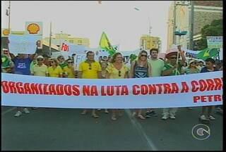 O domingo foi de muitas manifestações em Petrolina e no Recife - Nos protestos, críticas à corrupção e também ao governo da presidente Dilma Rousseff.
