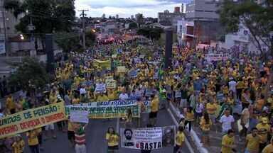 Protesto deste domingo reuniu milhares de pessoas no centro de Cuiabá - Em Cuiabá, o protesto deste domingo reuniu milhares de pessoas no centro da cidade.