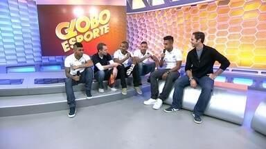 Campeões paulistas visitam o estúdio do Globo Esporte - Gabigol, David, Braz, Vladimir e Werley comentam os lances principais com Caio Ribeiro